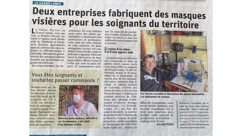 Article masques visières du Dauphiné Libéré - 07-04-2020